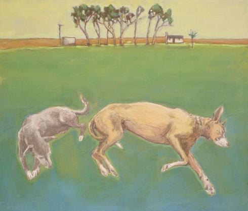 Two dogs sleeping. Gouache. 24 x 27 cm. 2014
